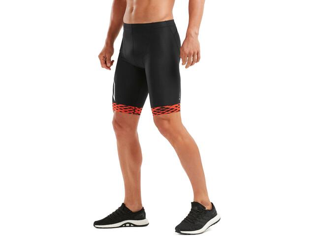 2XU Compression Spodenki triathlonowe Mężczyźni, black/white flame lines